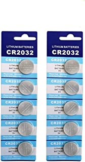 CR2032 Battery 3 Volt Lithium Coin Cell 2032 Batteries 10 Pack (2x5 Pack) in Original Packaging for Watch, Car Key, Calcul...