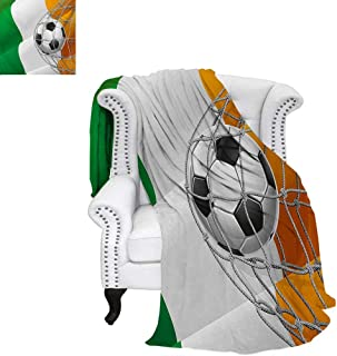 warmfamily Irish Lightweight Blanket Sports Theme Soccer Ball in a Net Game Goal with Ireland National Flag Victory Win Custom Design Cozy Flannel Blanket 60