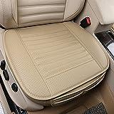 Cojín de asiento, protección del asiento de coche, cómodo y transpirable Cuatro estaciones generales Pu cuero Bambú carbón de leña transpirable coche interior (Beige)