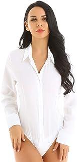 Nimiya Women's Long Sleeve Button Down Bodysuit Shirt One-Piece Work Office Blouse Leotard Tops