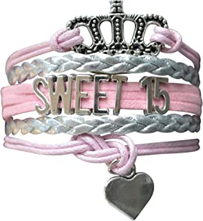 Infinity Collection Quince Bracelet- Girls Sweet 15 Jewelry - Quinceanera Bracelet for Girls Fifteenth Birthday