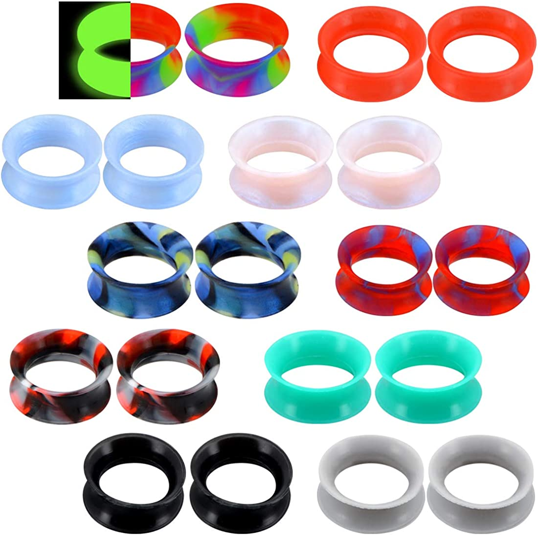 COCHARM 20 PCS Thin Silicone Ear Plugs Tunnels Double Flared Flexible Tunnel Ear Stretching Plug Gauge Body Piercing Jewelry