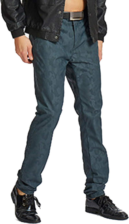 Yeokou Men's Fashion Skinny Camo Straight Fit Fit Fit Stretch Pu Faux Leather Biker Pants b9c12b