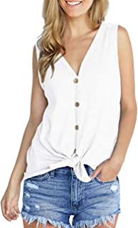 14b97b1a Aokosor Womens Short Sleeve V Neck Button Down Shirts Tie Front Knot Henley  Tops Loose Blouses
