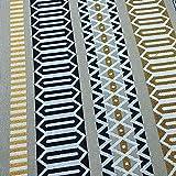 Kt KILOtela Tela de tapicería - Jacquard Tejido - Retal de 100 cm Largo x 280 cm Ancho | Geométrico, cenefas Rayas Verticales - Amarillo Mostaza, Negro, Beige ─ 1 Metro