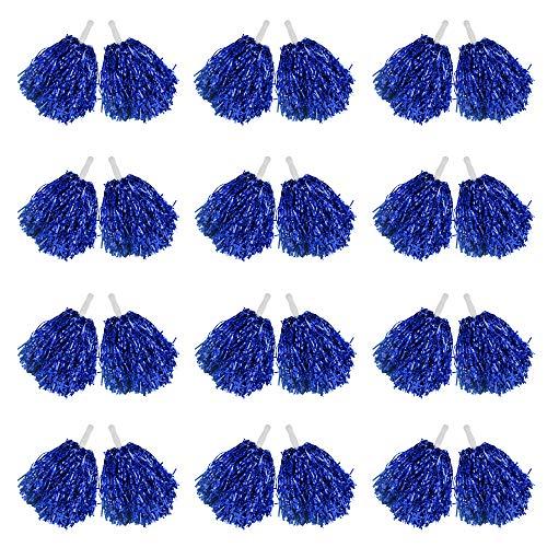 RETON 24 Pack Cheerleader-Pompons 1 Dutzend Griff Metallic-Folien-Bänder Cheerleader-Pompons für Kinder Ball, Tanz, Sport, Trainer, Spielkleid, Party, blau