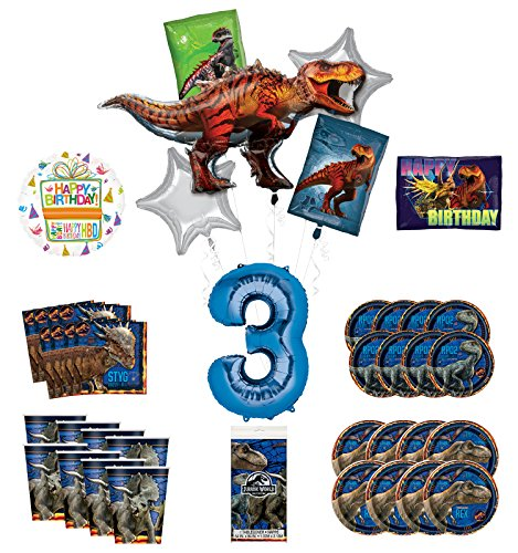 Buy Mayflower Products Jurassic World 3rd Birthday Party Supplies and 16 Guest Balloon Decoration Ki...