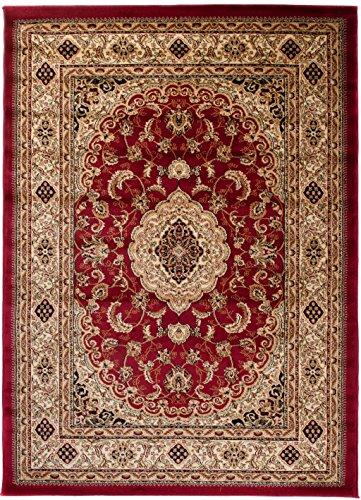 Carpeto Teppich Orientteppich Rot 300 x 400 cm Medaillon Konturenschnitt Muster Iskander Kollektion