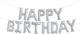 Fecedy Silver Happy Birthday Hang Alphabet Balloons Banner