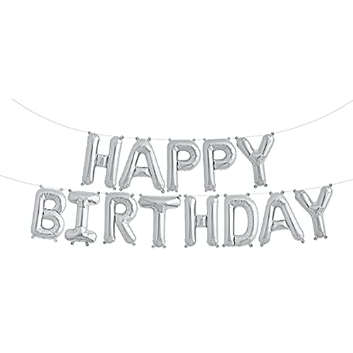 Fecedy Silver Happy Birthday Hang Alphabet Balloons Banner