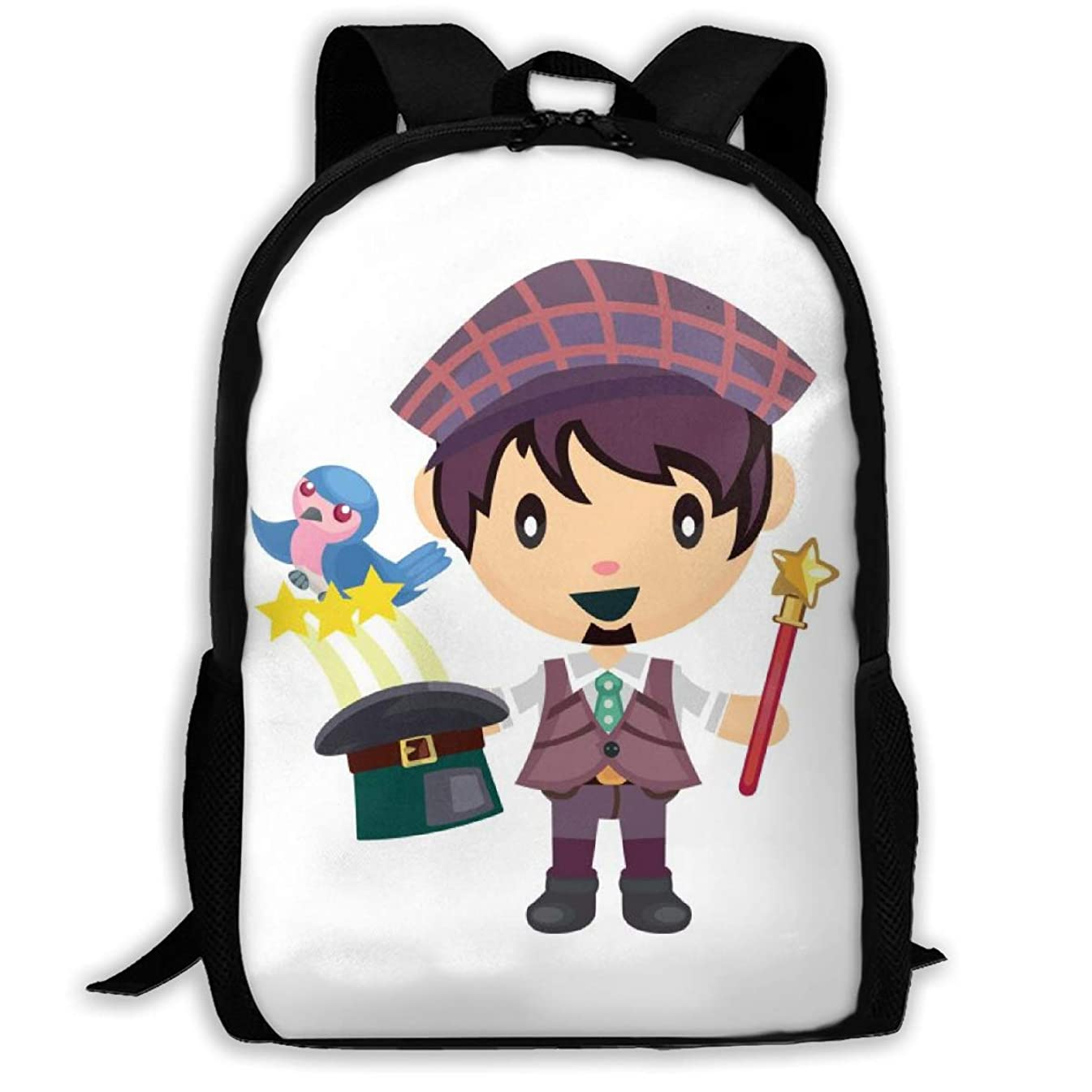 Laptop Backpack Young Man As A Magician Zipper College Bookbag Daypack Travel Rucksack Gym Bag For Man Women