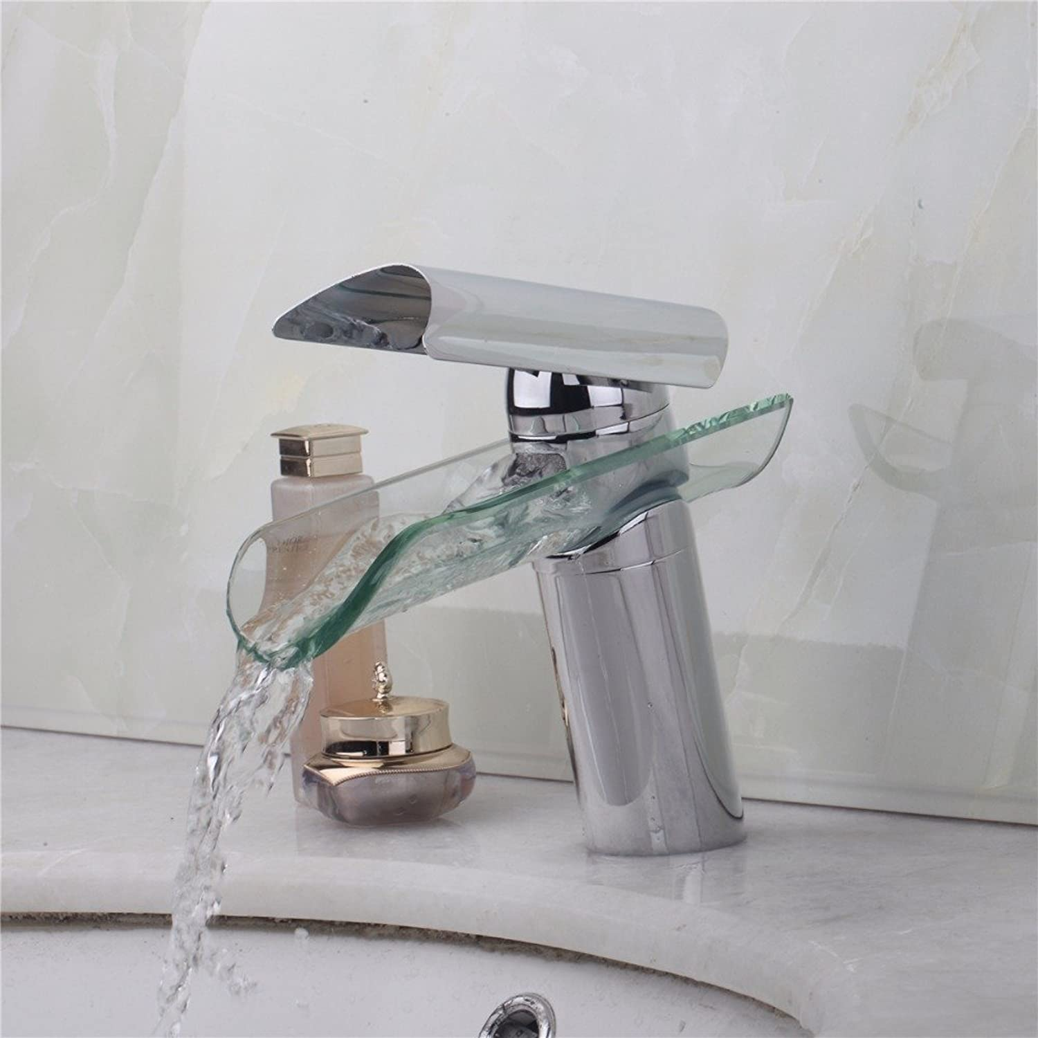 Maifeini Modern Glass Bathroom Waterfall Basin Water Mixer Taps Square Hot And Cold Shower Bathroom Faucet