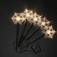 Lurrose Luzes de quintal de flocos de neve, iluminação de estaca de Natal à prova d'água, acessórios decorativos para ambi...