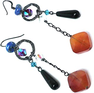 Faceted Carnelian Black Agate Lapis Earrings Oxidized Sterling Silver Hammered Ring Crystal