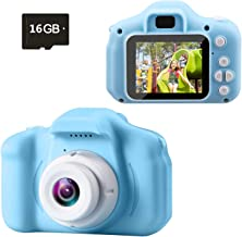 Kids Camera, Digital Camera for Kids, 1080P FHD Rechargeable Shockproof Kids Camera with 2 Inch IPS Screen and 16GB SD Car...
