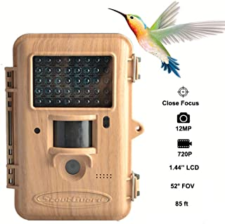 Trail Game Camera,12MP Scouting Camera 1.44'' LCD 720P 85FT Detection Range Bird Watching Camera with Black IR LEDs Trail Hunting Cameras Supports Two Focus Capturing Far and Near
