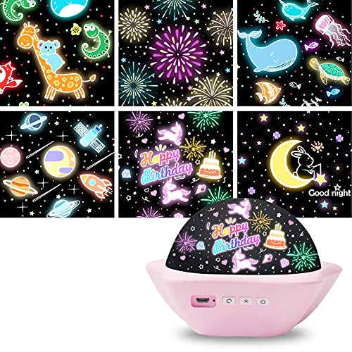 Night Light Projector for Kids, 6 Films Modes 3 Color Portable Night Light for Kids, USB Rechargeable Baby Projector Night Light for Bedroom Decoration Room Decor 1 2 3 4 5 6 7 8 9 year old Girl Gifts