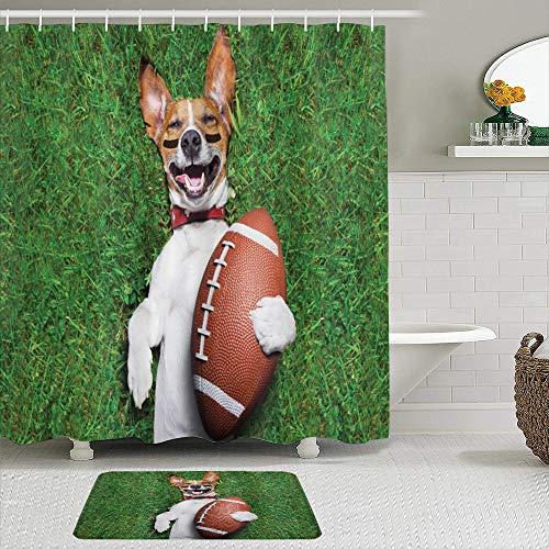 KISSENSU Badezimmer-Vorhang-Set,Sport-Fußball-Hund,der einen Rugby-Ball hält und lautes lustiges Comic-Witz-Bild auslacht,Duschvorhang gedruckt wasserdichter Vorhang Badematte Fußmatte Wohnkultur