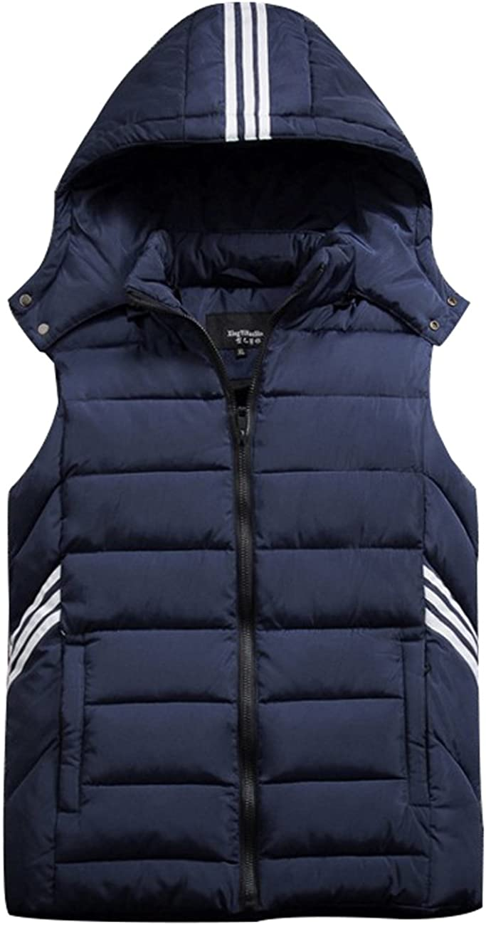 Zoulee Men's Winter Vest Removable Hooded Warm Sleeveless Jacket Gilet