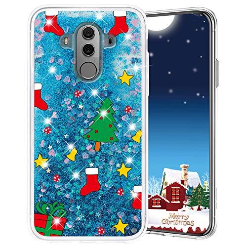 Misstars Weihnachten Handyhülle für Huawei Mate 10 Pro, 3D Kreativ Glitzer Flüssig Transparent Weich Silikon TPU Bumper mit Weihnachtsbaum Muster Design Anti-kratzt Schutzhülle