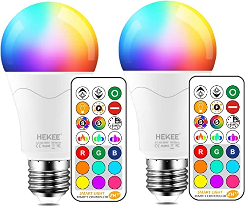LED Light Bulb 85W Equivalent, Color Changing Light Bulbs with Remote Control RGB 6 Modes, Timing, Sync, Dimmable E26...