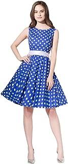 FiftiesChic Sleeveless 100% Cotton Polka Dot Floral 50s Vintage Rockabilly Swing Dress