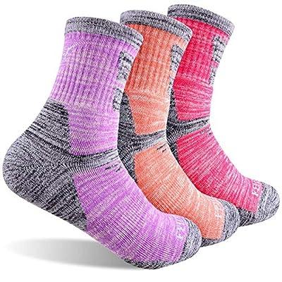 Women's Hiking Walking Socks, FEIDEER 3-Pack Outdoor Recreation Socks Wicking Cushion Crew Socks ( 3WS19103-M)