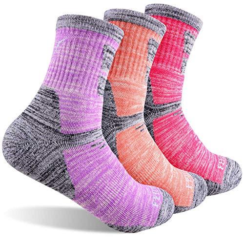 FEIDEER Women s Hiking Walking Trekking Socks, 3-Pack Outdoor Recreation Socks Wicking Cushion Comfortable Breathable Crew Socks(3WS19103-M