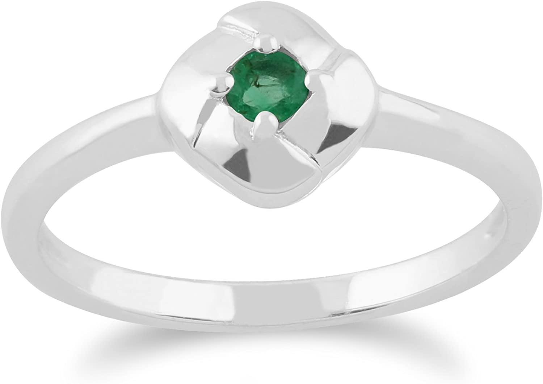 Gemondo Emerald Ring, 925 Sterling Silver 0.11ct Emerald Square Credver Ring