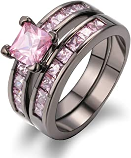 2-in-1 Womens Rings Vintage Rings Pink Diamond Rings Engagement Wedding Bands for Her Bridal Set