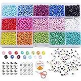 Cuentas de Colores 2mm 3mm Mini Cuentas y 6mm Cuentas del Alfabeto Pequeño Abalorios Kit para DIY Pulseras Collares Bisutería (3MM)