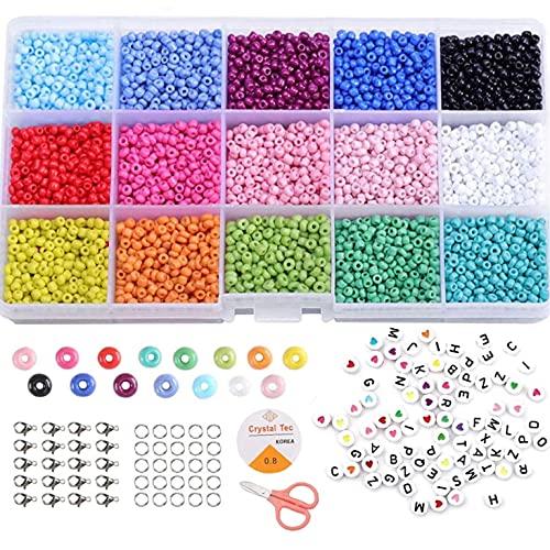 15 Colori 3mm Perline Vetro Perline Colorate per Creare Gioielli,Perline Alfabeto per Bigiotteria Fai da Te con Elastic Thread Kit Creare Gioielli per Braccialetti, Collane, Bigiotteria (3MM)