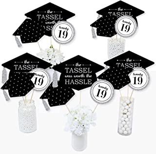 Silver -Tassel Worth The Hassle - 2019 Graduation Party Centerpiece Sticks - Table Toppers - Set of 15