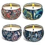 Set regalo di 4 candele profumate in cera di soia naturale, portatile, da viaggio, per alleviare lo stress e rilassarsi per aromaterapia, 4 barattoli da 70 ml