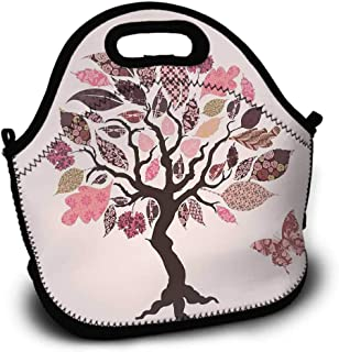 Picnic Bag, Pattern Printing, Dragonfly, Authentic Tree with Ethnic Patch Leaves and Dwelling Haven Property Artwork Print, Lunch Bag, Sundries Bag, Shopping Bag, Pink Brown, 5.5x11x11 inch