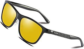 Bircen Night Vision Driving Polarized Glasses for Men Women Anti Glare Rainy Safe HD Fashion Al-Mg Metal Frame Sun Glasses