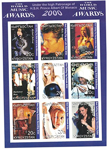 Briefmarkenblock, unperforiert, Kirgistan, Motiv: The World Music Awards 2000 mit Michael Jackson, Mariah Carey, Britney Spears, Sammlerstück