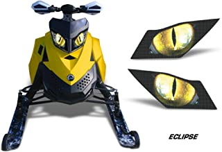 AMR Racing Sled Headlight Eye Graphic Decal Cover for Ski Doo Rev XP Summit - Eclipse Yellow