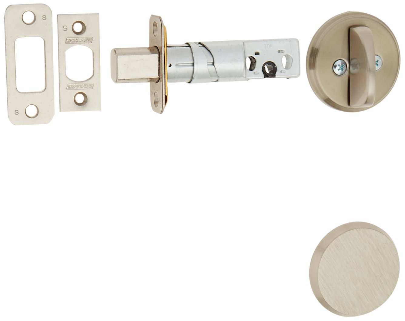 schlage deadbolt parts amazon comschlage b81619 satin nickel single sided residential deadbolt with thumbturn and outside trim plate from the