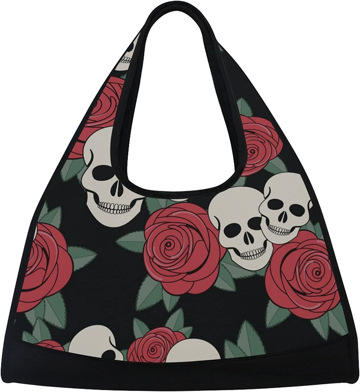 MAPOLO Abstract Gothic Skull Travel Duffel Bag Sports Gym Bag Shoulder Bag