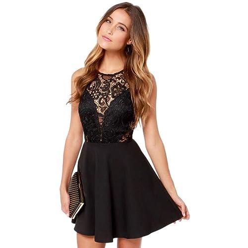 0b8d02a38fa7 feiXIANG Vestito da Donna, Maglia Vestiti Dress con Tasca Abito a Pieghe  Abiti Gonna a