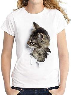 Jmwss QD Womens Shirt Round Neck 3D Print Summer Cat Fashion Short Sleeve Top Blouse T Shirt 4 Large