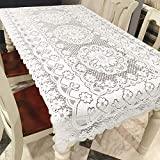 FCOZM Rectangle Tablecloth, 55' X 78', Floral Lace Tablecloth, White Tablecloth for Wedding/Banquet/Home Decoration, Piano/Sofa/Table Cover Tea Table Cloth Overlay