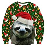 RAISEVERN Unisex Ugly Christmas Sloth Decoration Print Funny Xmas Pullover Sweater Sweatshirt for Teen Juniors, 2017 Style Christmas Sloth 2, Medium
