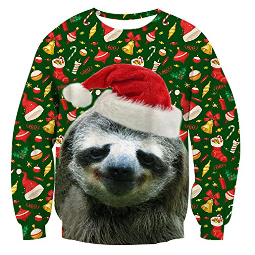 RAISEVERN Unisex Ugly Christmas Sloth Decoration Print Personalized Xmas Pullover Sweater Sweatshirt for Boy Girl