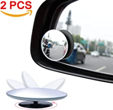 Amfor Blind Spot Mirror, Round HD Glass Convex Lens Frameless Adjustable Blind Spot Mirror for All Universal Vehicles Car Stick-on Design (2 PCS)