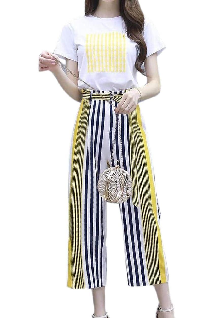 一晩パイプマウント女性固体oネック半袖作物トップスハイウエストロングパンツジャンパー2ピース衣装