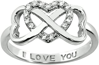 Sterling Silver .925 Double Heart Infinity Ring Sizes 5=9