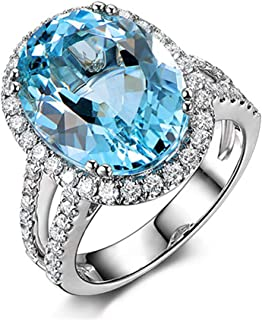6 Carat Oval Blue Topaz Engagement Halo Ring for Women Wedding Anniversary Sterling Silver
