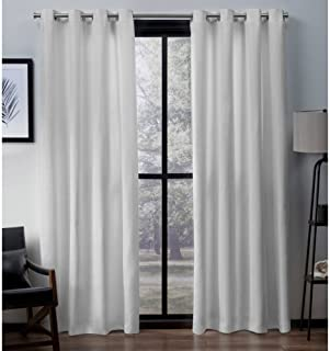 Exclusive Home Curtains Virenze Faux Silk Window Curtain Panel Pair with Grommet Top, 54x96, Winter White, 2 Piece